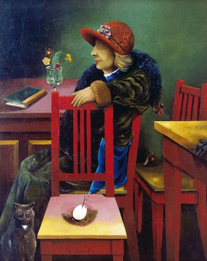 Frau zwischen roten Stühlen, 1924, Öl auf Leinwand auf Holz, Museum Kunstpalast, Düsseldorf